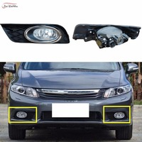 JanDeNing Car Fog Lights for Honda Civic 2012 2012 Clear Front Fog Lights Bumper Lamps Kit
