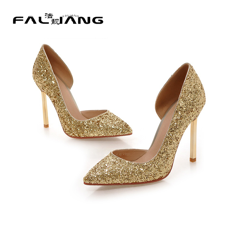 ФОТО BIG Size 34-43 thin High Heel Shoes Women Party Dress Elegant cut-outs shiny glitter Pumps Brand New Pointed Toe Wedding Pumps