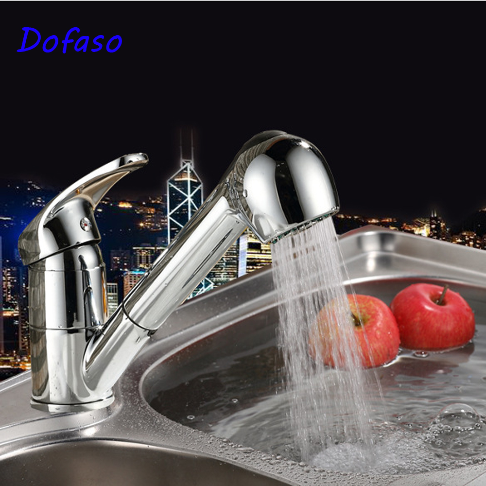 Dofaso 360 Degree Swivel Pull Out Kitchen Sink Faucet Water-Saving Polished Pull Down Kitchen Faucet Solid Brass Swivel taps ydl f 0538 polished nickel finish solid brass spring pull out kitchen faucet antique silvery