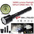 High Quality  XLightFire 34000 Lumens 14x CREE XML T6 5 Mode 18650 Super Bright LED Flashlight