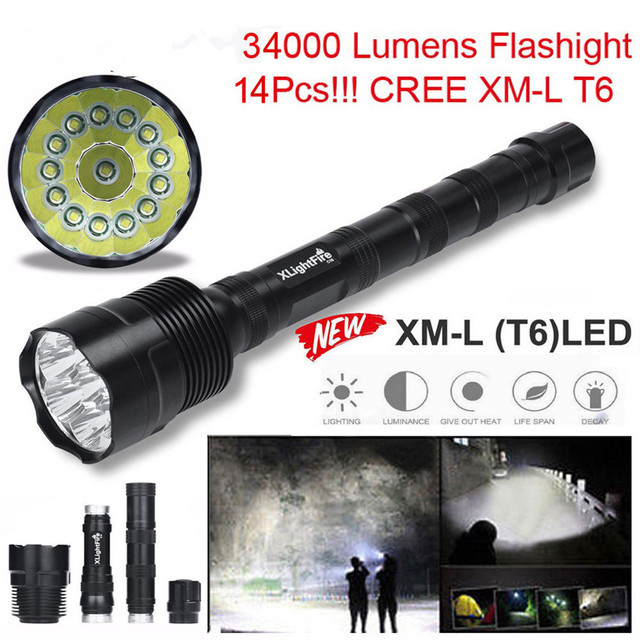 High Quality  XLightFire 34000 Lumens 14x CREE XML T6 5 Mode 18650 Super Bright LED Flashlight