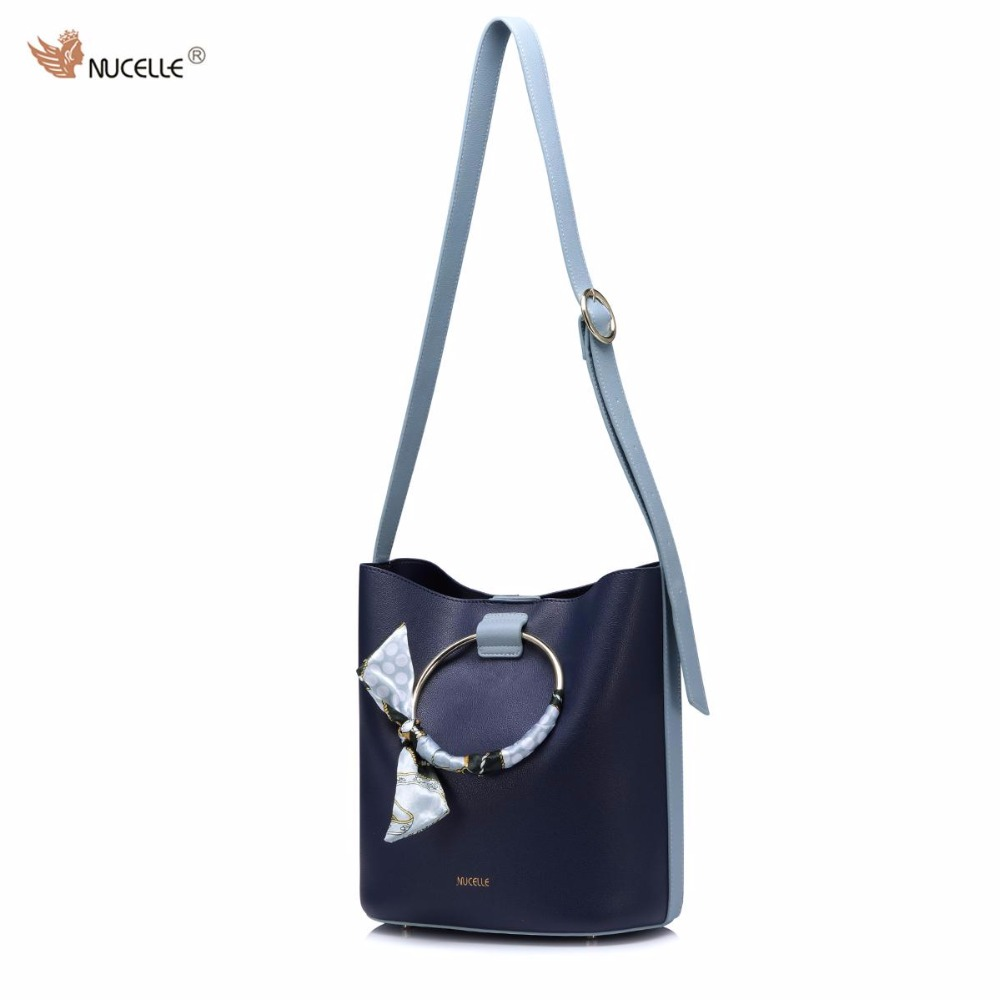 NUCELLE Brand Autumn New Ring Ribbon Design Fashion PU Leather Women Lady Handbag Shoulder Bags Bucket Bag
