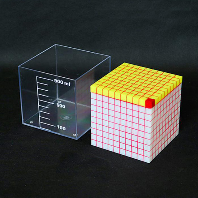 Cube with cut off rule Capacity unit volume demonstrator 1L container Mathematics teaching aids length of a side 10cm|Mathematics| |  - title=