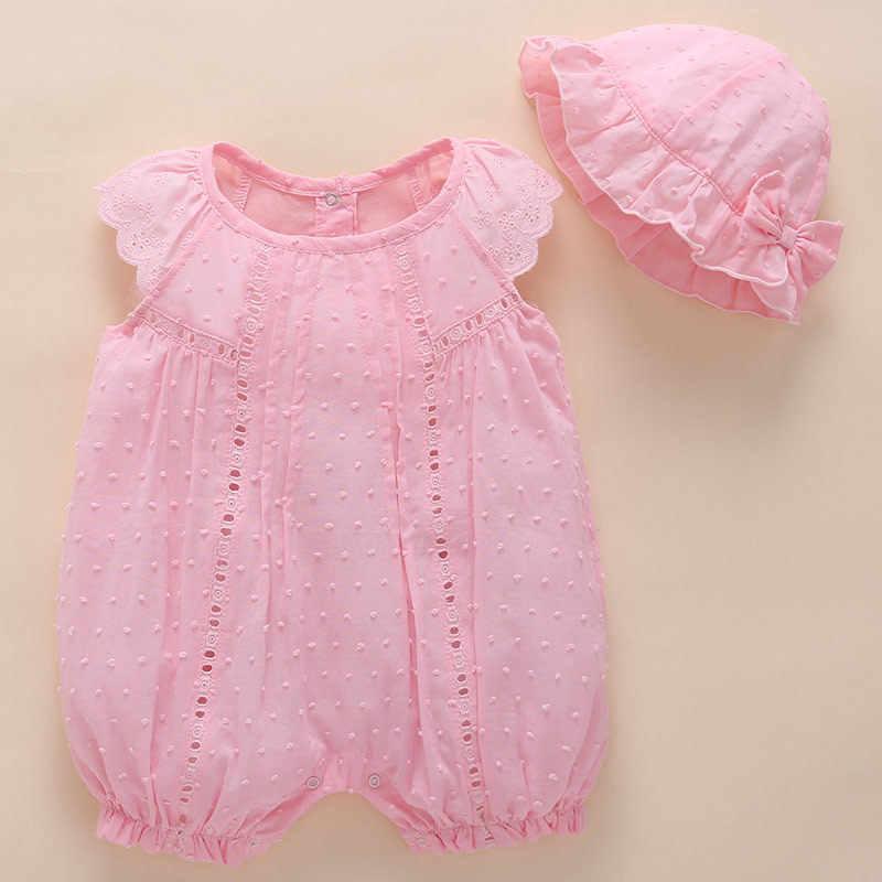 Sơ sinh bé gái mùa hè Áo Liền Quần áo + Tặng mũ 0 1 năm Hoa Đầm ren công chúa sinh nhật quần áo Đầm Vestido infantil G77