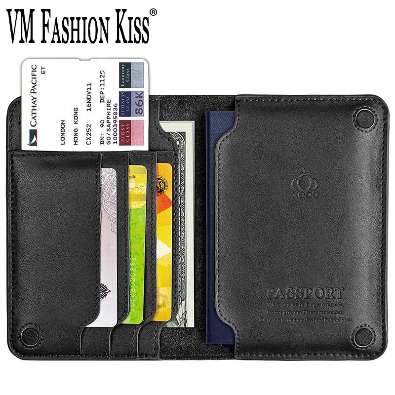 VM FASHION KISS 2019 NEW Genuine Leather Passport Case Minimalist Passport Cover Coin Purses Holders Famous Brand Documents Bag