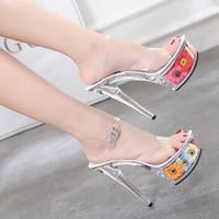Wedding Shoes Women Sandals High Heel 15CM Flower Platforms Sandals Crystal Lady's Shoes Steel Tube Dancing Shoes Women Pumps