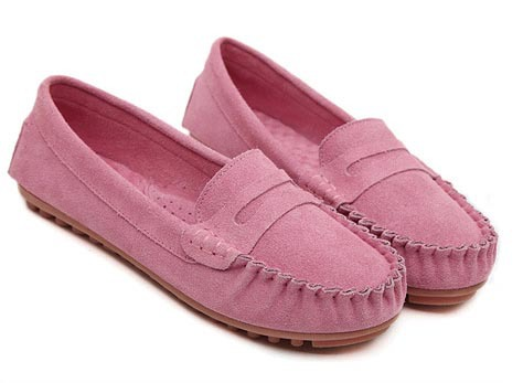 b1fe42a26b44 New 2017 Women Genuine Leather Flats Fashion Suede Slip on Moccasins  Loafers Ladies Casual Leather Flat Shoes Driving Shoes-in Women s Flats  from Shoes