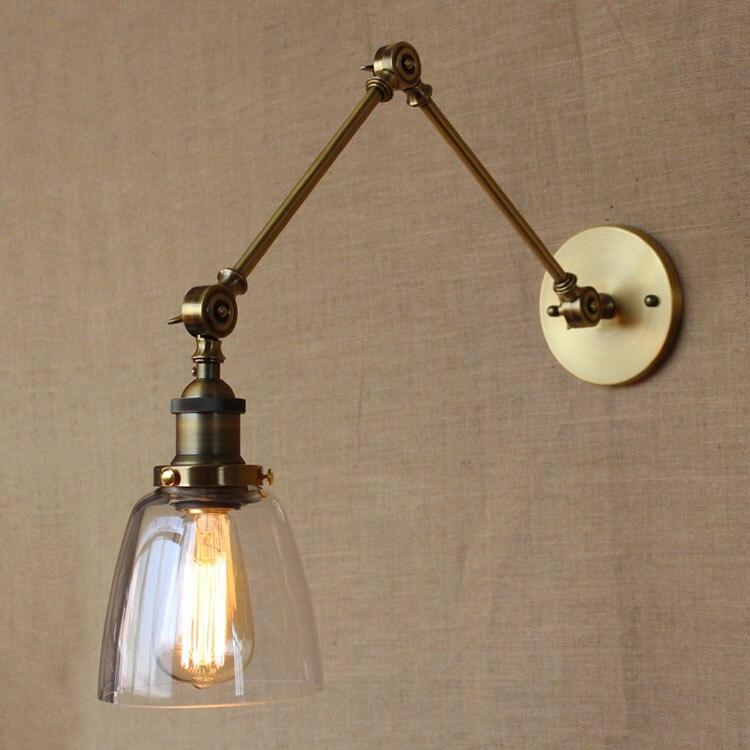 Ретро старинные индустриальном стиле золотой рукой железа стеклянная стена лампы отель спальня украшение бра бесплатная доставка