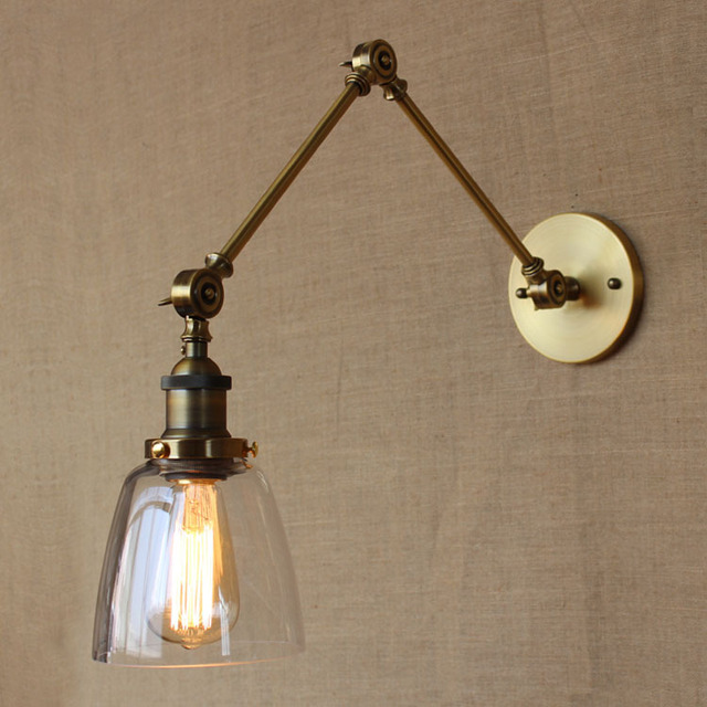 retro vintage industrial style golden arm iron glass wall lamp hotel light bedroom light decoration wall
