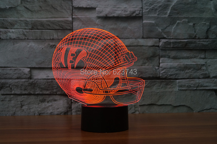 Cincinnati Bengals American Football cap helmet NFL 3D LED Color Changing Decor night light by Touch induction control and AAA