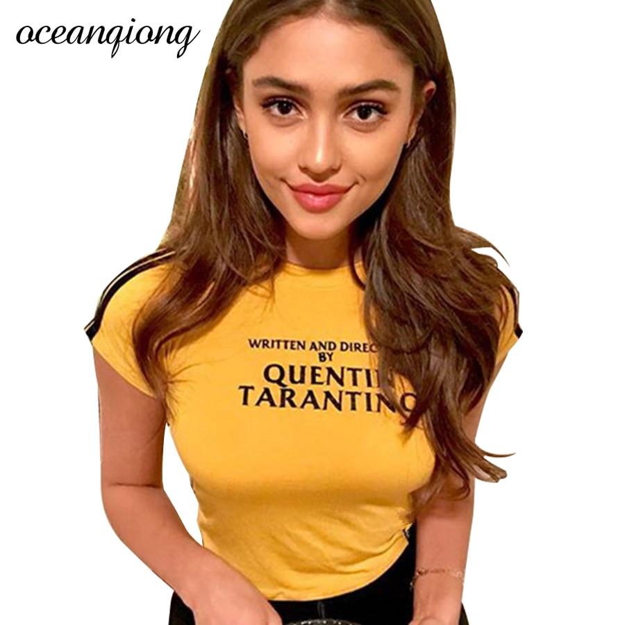 mulheres-sexy-t-shirt-tops-de-culturas-de-verao-escrito-e-dirigido-por-quentin-font-b-tarantino-b-font-o-pescoco-amarelo-moda-quente-engracado-camisetas-para-mulheres