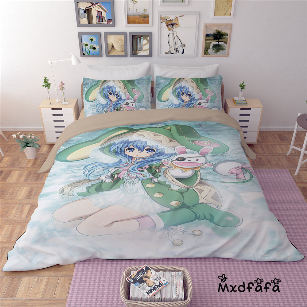 Mxdfafa Anime DATE A LIVE Duvet Cover Set bedding set Luxury Comforter Bedding Sets Include 1 Duvet Cover and 2 pillowcases in Bedding Sets from Home Garden