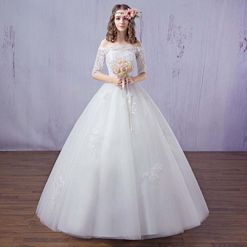 The new spring and summer dress 2016 bride a word shoulder princess grace together to sh ...