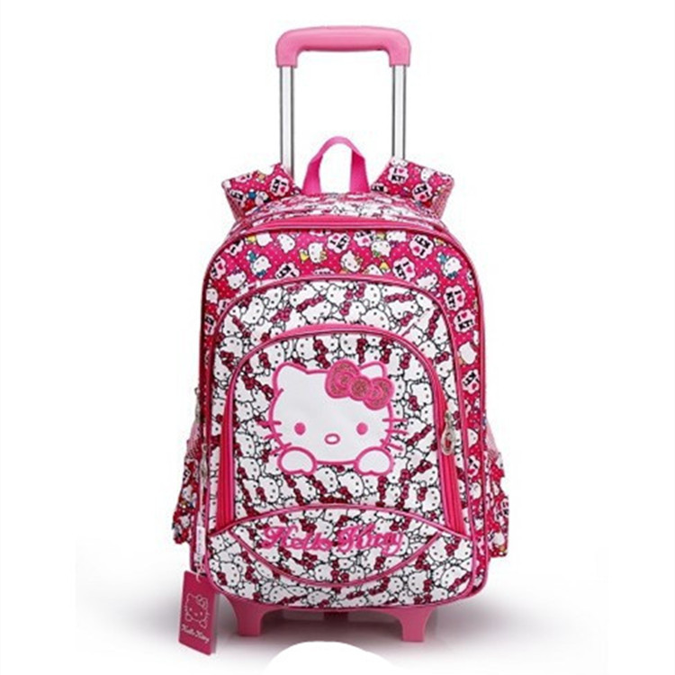 11e65da0d353 New Children Removable Wheel Trolley Luggage Girls Hello Kitty School Bags  With Wheels Kids Cute Rolling Cartoon School Bags -in School Bags from  Luggage ...