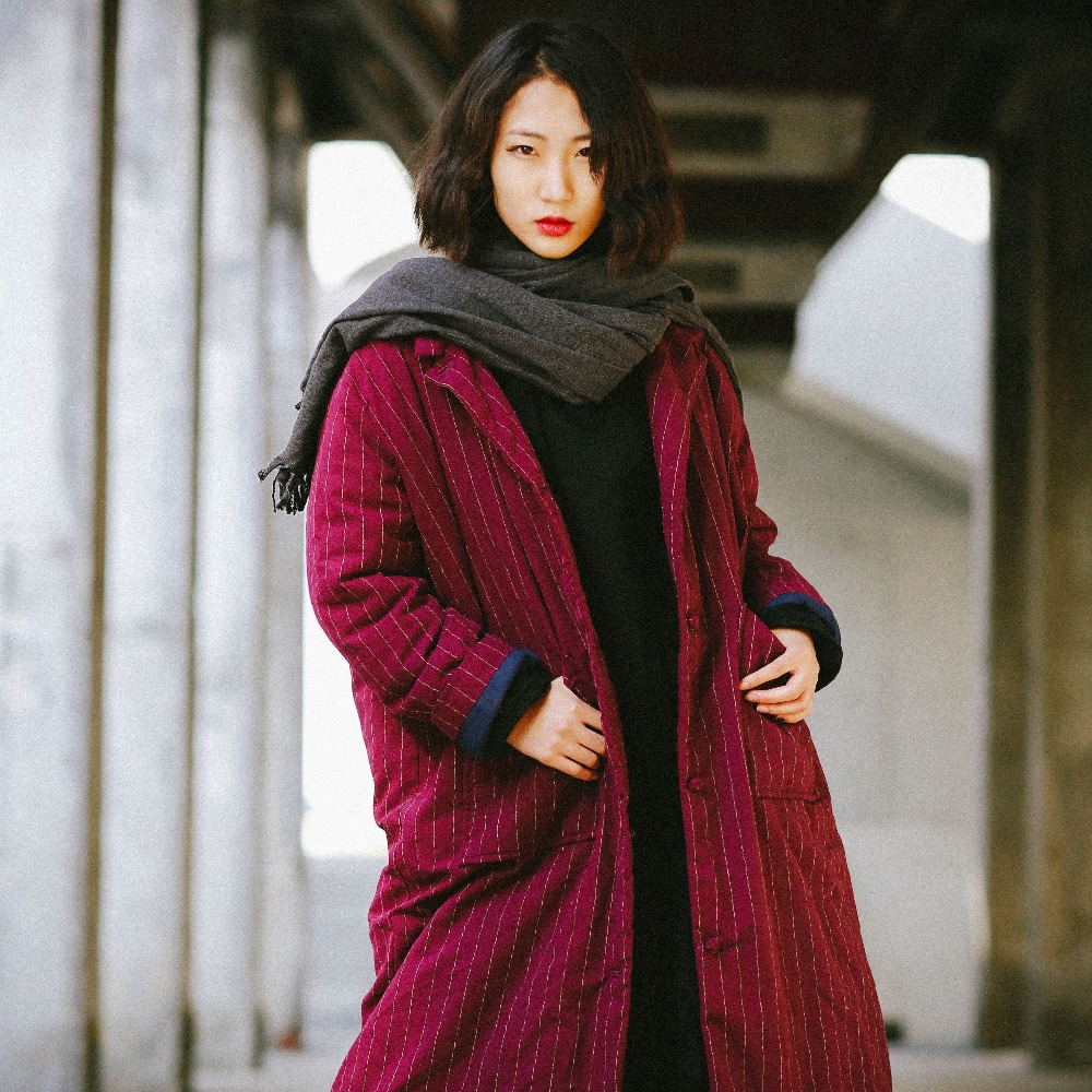 2018 new cotton and linen turn down collar autumn and winter red vintage women long styl ...