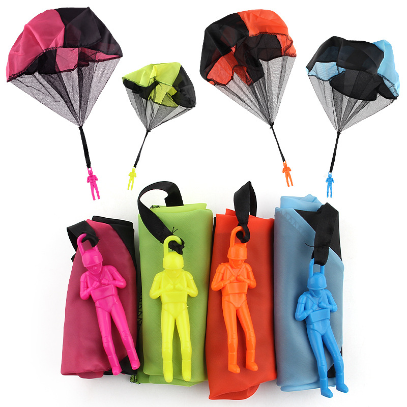 Kids Throwing Toy Hand Parachute Childrens Educational Parachute With Figure Soldier Outdoor Fun Sports Play Game