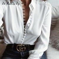 DeRuiLaDy Female Elegant Long Sleeve Black White Blouse Shirt Women Casual Streetwear Shirt Tops Female Cotton