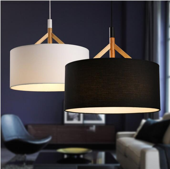 Modern D44cm Fabric lampshade pendant lights Nordic living room bedroom ceiling hanging lamp American style wood fabric lighting