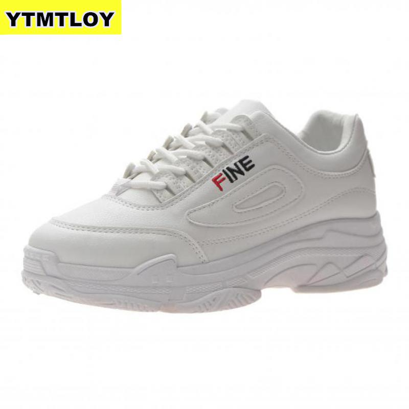 Women's Chunky 2019 Fashion Women Platform Shoes Lace Up Pink Vulcanize Womens Female Trainers Dad  White Sneakers  Zapatillas
