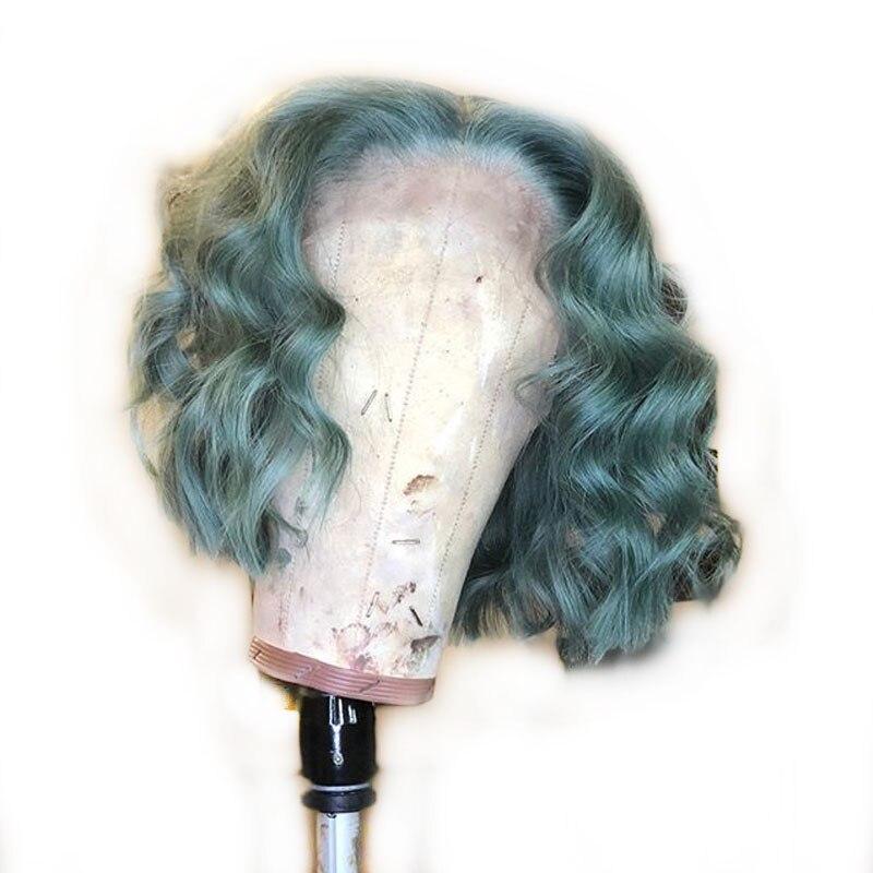 Light Green Bob Lace Front Human Hair Wigs Loose Deep Wave Short Blunt Cut Transparent Lace Brazilian Remy Wigs For Black Women