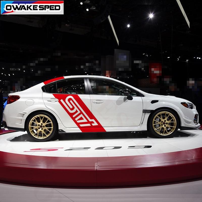 For Subaru WRX STI Graphics Vinyl Decals Racing Sport Stripes Car Body Door Side Decor Stickers Auto DIY Exterior Accessories