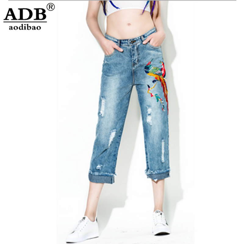 Aodibao 2017 Spring Summer Newest Embroidery Boyfriend Ripped Jeans For Women Hole Washed Causal Vintage Calf-Length Denim Pant boyfriend jeans women ankle length washed denim summer vintage hole ripped letter embroidery harem pants female casual streetwea