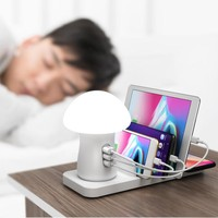 USB Charging Station Fast Charge 40W Multi Device Charger 3 Port QC 3.0 LED Light USB Phone Charger Mushroom