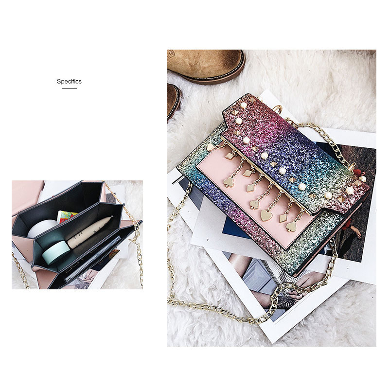 TFTP-Korean Version of the New Fashion Sequins Hit Organ Small Package Wild Casual Shoulder Messenger Messenger Bag