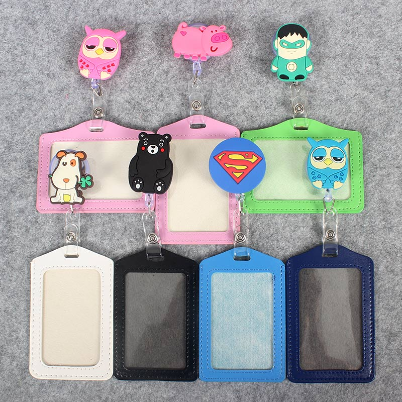 Cute Cartoon And Animals Women Retractable Badge Reel Student Nurse Exihibiton ID Name Card Badge Holder Hospital School Office