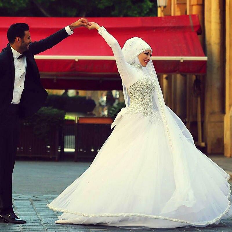Custom Made Romantic Saudi Arabia Long Sleeve Wedding Gowns Designer Crystal Dresses DG0078