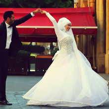 Custom Made Romantic Saudi Arabia Long Sleeve Wedding Gowns Designer Crystal Dresses DG0078