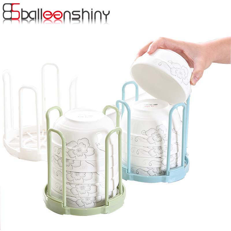 BalleenShiny Dish Plate Fold Rack Holder Stand Dry Shelf Storage Canteen Kitchen Supplies Plastic Kitchen Shelves Accessories