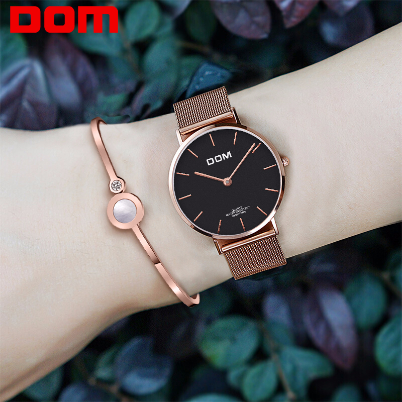DOM Top Brand Luxury Women Watches Waterproof Business Rose Gold Stainless Steel Ladies Quartz Wrist Watch Reloj Mujer G 36G 1M1Womens Watches   -