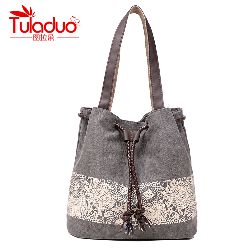 TuLaDuo New Fashion Famous Brand  Canvas Women Shoulder Bags Design Lace Flower