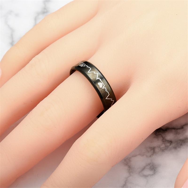 Fashion hot Men's Women's Creative ECG Design Heartbeat Titanium Steel Rings 2020 Classic Black Titanium Wedding Rings jewelry 4
