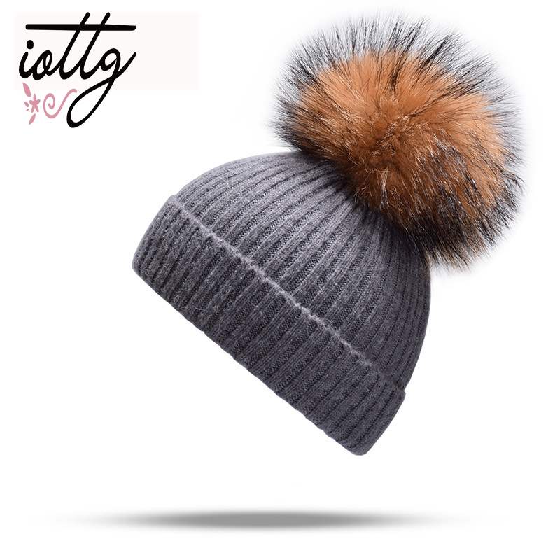 IOTTG Real Fur Winter Hat Fashion Women Hat Cashmere Knitted Hat Winter Keep Warm Female   Skullies     Beanies   Hats