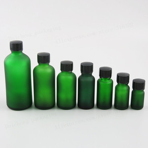 Image 1 - 10ML 15ml 20ml 30ml 50ml 100ml Refillable Frost Green Glass Essential Oil Bottle With Brush Cap 1oz 1/2oz 5/3OZ NaiPolish Bottle
