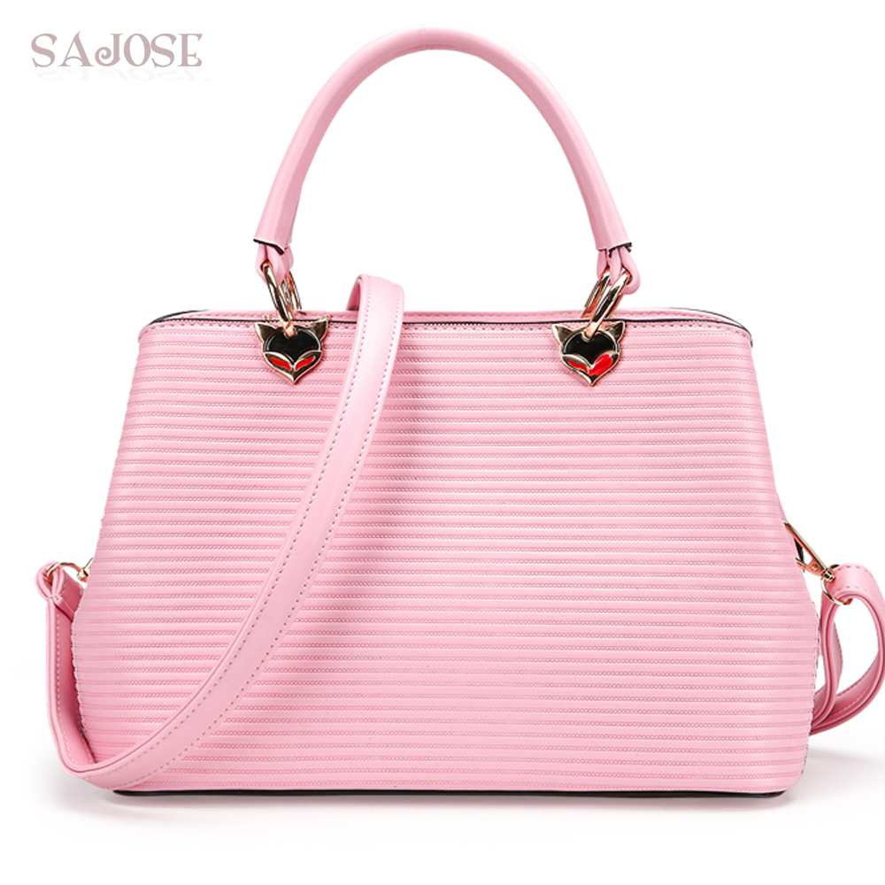 Leather Tote Bags For Women High Quality Famous Brands Handbag Fashion Pink Simple Lady Shoulder Bag Female Bolsos Mujer SAJOSE new arrival women pu leather handbag famous brands women messenger bags women s bag pouch bolsos high quality female bag