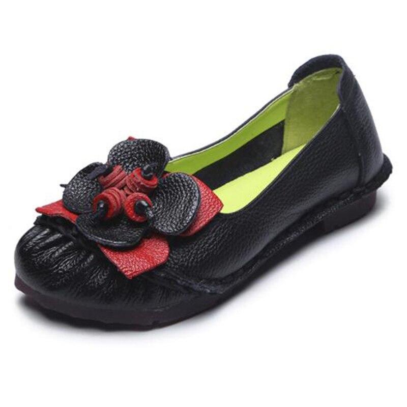 gris Negro Covoyyar Grande 35 Zapatos Genuino Tamaño Señora Costura Wfs957 Casual 2018 Vintage Cuero Flor 41 Mujeres Mocasines Pisos amarillo Suave qHUB4qSw