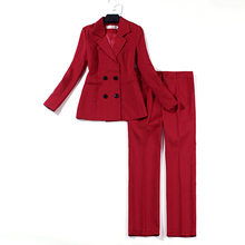 Womens suit pants professional office fashion double-breasted red jacket slim trousers two-piece 2019
