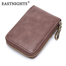 EASTNIGHTS High Quality Credit Card Holder Men Genuine Oil Wax Leather Wallet Women Rfid Vintage ID Holders  TW2723