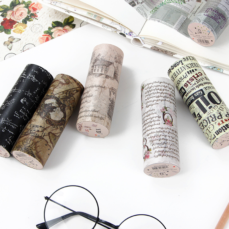 10cm*5m Vintage English Postmark Poster Map Decorative Adhesive Tape Masking Washi Tape DIY Scrapbooking Sticker Label