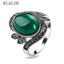 KCALOE Vintage Green/Red Agate Ring Oval Natural Stone Black Crystal Rhinestone Antique Silver Plated Finger Rings Female
