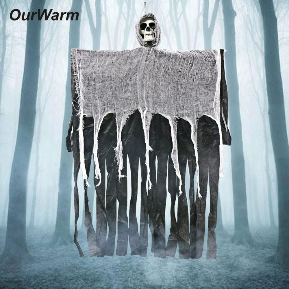 OurWarm Hanging Grim Reaper Halloween Ghost Decorations Horror Haunted House Props Skull Devil 100cm*60cm