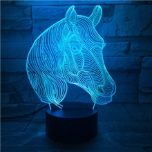 Creative Animal Horse Head 3D Lamp Gift LED USB Mood Night Light Multicolor Luminaria Desk Table Kid Toy Gadget Prop Home Deocr