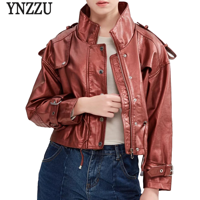 YNZZU 2018 Autumn Women   Leather   Jacket Solid Light Pink PU Casual Long Sleeve Zipper Coat Jacket Women casaco feminino YO546