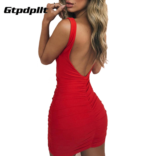 4a7f916429 US $9.63 25% OFF|Gtpdpllt Sexy Backless Summer Dress Women V neck  Sleeveless Sheath Mini Bodycon Dress Red Party Dress Vestido New Dresses-in  Dresses ...