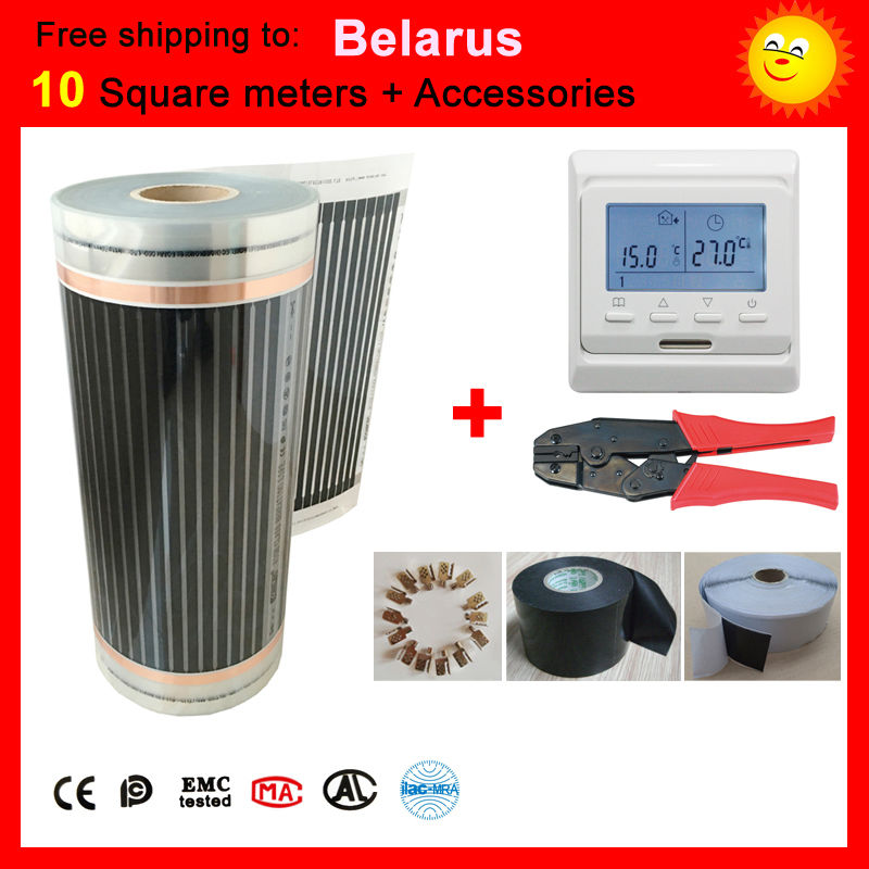 Free shipping to Belarus,10 Square meter under floor Heating film, far infrared heating film max surface temperature 73degree united kingdom free shipping 50 square meter infrared heating film with accessories under floor heating film 50cmx100m