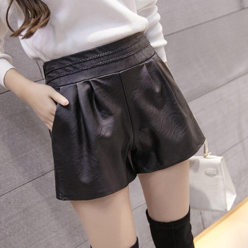 SM L XL 2XL 3XL 4XL 5XL Plus Size Women Clothing Short Feminino Spring PU Leather Shorts Womens  (A8665)