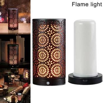 LED Nyala Lampu Berkedip Api Lampu Meja Dekorasi untuk Hotel Bar Rumah Kamar P7Ding